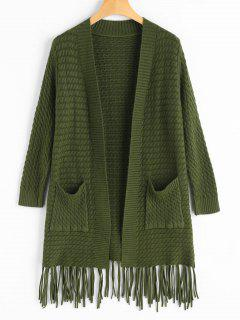 Fringed Open Cardigan With Pockets - Army Green