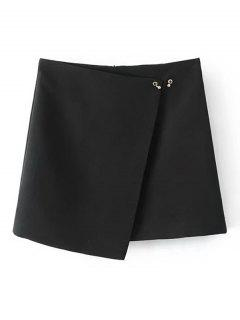 Metallic Ring Asymmetrical Mini Skirt - Black S