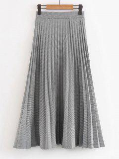 Houndstooth Maxi Pleated Skirt - Checked L