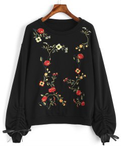 Cinched Sleeve Floral Embroidered Sweatshirt - Black M