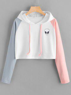Raglan Sleeve Skull Patches Cropped Hoodie - White S