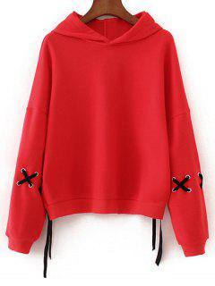 Kontrastierendes Übergröße Hoodie Mit Kreuzgurte - Rot M