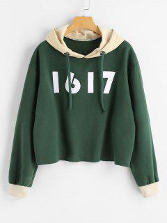 Number Color Block Tunic Hoodie - Green