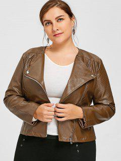 Faux Leather Plus Size Biker Jacket - Brown 4xl