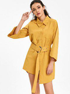 Button Up Belted Asymmetric Pocket Dress - Earthy
