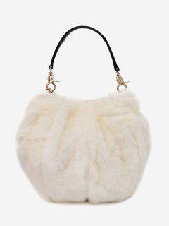 Multi Function Fuzzy Handbag - White
