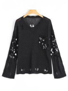 Faux Pear Paillette Embellished Distressed Knitwear - Black