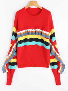Frilled Color Block Crew Neck Sweater - Red