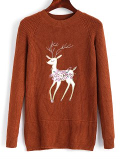 Raglan Sleeve Elk Embroidered Christmas Sweater - Light Brown