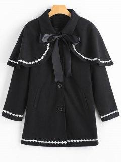 Floral Trim Coat With Removable Capelet - Black