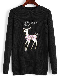 Raglan Sleeve Elk Embroidered Christmas Sweater - Black