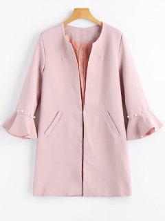 Beading Flare Sleeve Coat With Pockets - Pink M