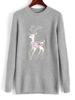 Raglan Sleeve Elk Embroidered Christmas Sweater - Gray