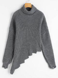Suéter Asimétrico Cuello Alto Acanalado - Gris