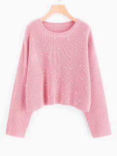 Oversized Faux Pearls Pullover Sweater - Pink