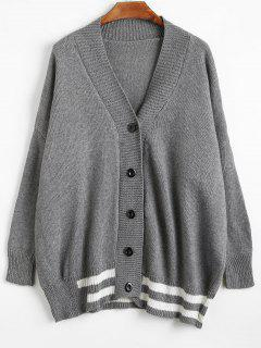 Button Up Tunic Sweater Cardigan - Gray