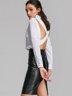 Criss Cross Open Back Pocket Shirt - White S