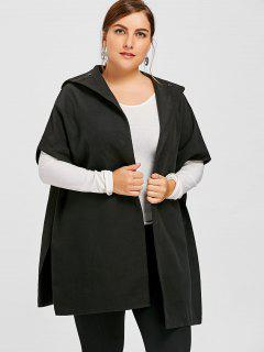 Plus Size Hooded Cape Coat - Black 5xl