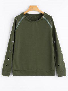 Eyelet Raglan Sleeve Zipper Embellished Sweatshirt - Army Green M