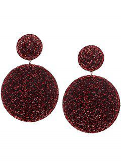 Vintage Round Layered Earrings - Red