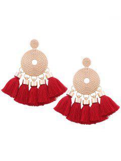 Alloy Round Tassel Earrings - Red