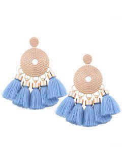 Alloy Round Tassel Earrings - Blue