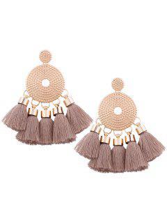 Alloy Round Tassel Earrings - Light Brown
