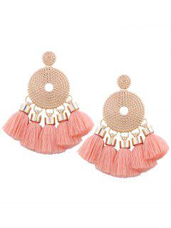 Alloy Round Tassel Earrings - Light Pink