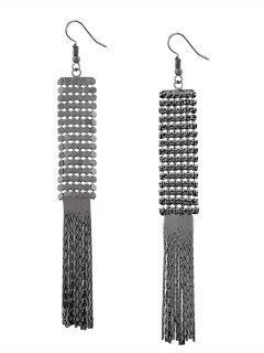 Vintage Alloy Metal Fringed Hook Earrings - Gun Black