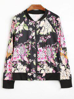 Flower Print Raglan Sleeve Zip Up Jacket - Black S