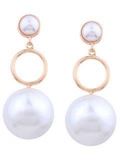 Artificial Pearl Circle Layered Drop Earrings - Golden