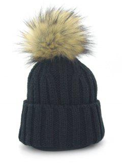 Removable Fuzzy Ball Embellished Flanging Knit Beanie - Black