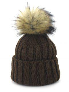 Removable Fuzzy Ball Embellished Flanging Knit Beanie - Coffee