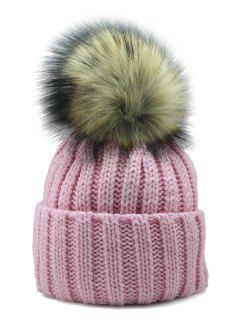 Removable Fuzzy Ball Embellished Flanging Knit Beanie - Pink