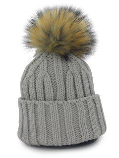 Removable Fuzzy Ball Embellished Flanging Knit Beanie - Deep Gray