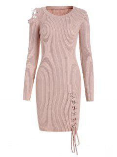 Open Shoulder Lace Up Sweater Dress - Pinkbeige