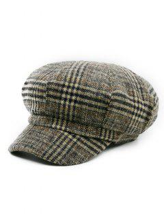 Houndstooth Pattern Embellished Newsboy Hat - Pattern C