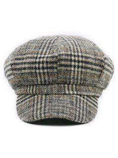 Houndstooth Pattern Embellished Newsboy Hat - Pattern D