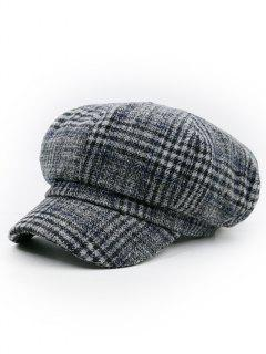 Houndstooth Pattern Embellished Newsboy Hat - Pattern F