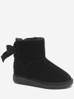 Slip On Bowknot Snow Boots - Black 40