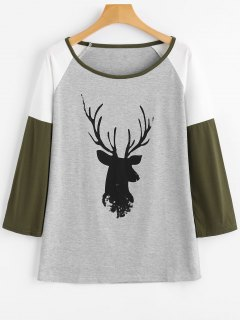 Camiseta Con Manga Raglán Con Contraste Estampado En Los Ciervos - Gris Claro Xl