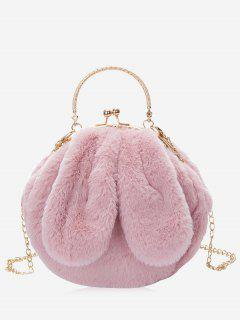 Rabbit Ear Embellished Faux Fur Handbag - Pink