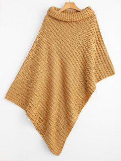 Turtleneck Asymmetrical Cape Sweater - Camel