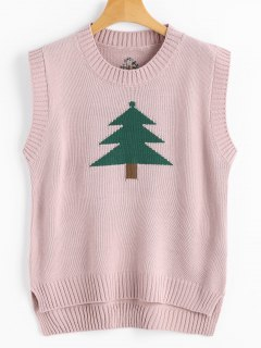 Christmas Tree Graphic Side Slit Sweater Vest - Pink