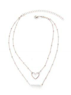 Beaded Heart Layered Collarbone Necklace - Silver