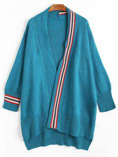 Striped Double Trim Drop Shoulder Cardigan - Lake Blue