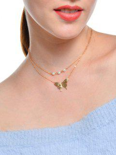Faux Pearl Butterfly Layered Collarbone Necklace - Golden