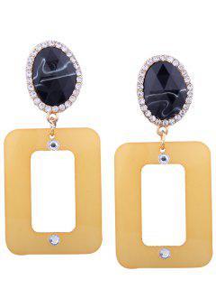 Pendientes Geométricos Ovalados De Diamantes De Imitación De Resina - Amarillo