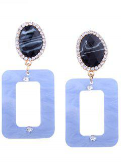 Resin Rhinestone Oval Geometric Earrings - Light Blue