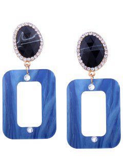 Pendientes Geométricos Ovalados De Diamantes De Imitación De Resina - Azul Claro